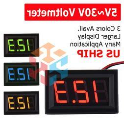 LED 12V ~ 24V Digital Display Voltmeter Car Motorcycle Volta