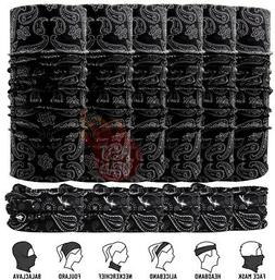 Lot 6 PACK Black Tube Bandana Baclava Neck Gaiter Scarf Moto