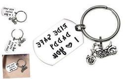 LParkin Ride Safe Daddy Keychain Motorcycle Gift Dad Keychai