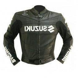 Men Suzuki Black Racing Motorcycle Leather Jacket CE Approve