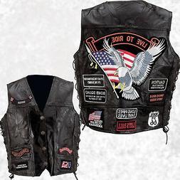 Mens Black Leather Motorcycle Vest Waistcoat with 14 Biker-S