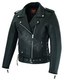 Mens Leather Motorcycle Top-Grain Buffalo Biker Jacket Genui