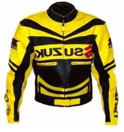 Motorbike Cowhide Leather Biker Jacket Sports Suzuki Racing