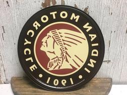 "~ Indian Motorcycle 1901 ~ 12"" Round Metal Sign auto Garage"