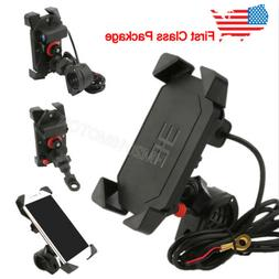 Motorcycle Cell Phone Handlebar Mirror Mount Holder w/USB Ch