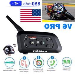 Motorcycle Intercom V6 1200m Helmet Headset Bluetooth Interp