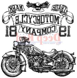 Motorcycle Logo Rubber Cling Stamp