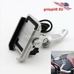 Motorcycle MTB Bike Mirror Metal Mount Phone Holder USB Char