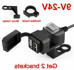 """7/8""""~Mirror Mt Motorcycle Power Outlet Dual USB 2.1A - 1A  P"""