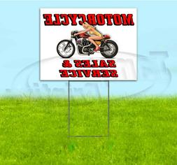 MOTORCYCLE SALES AND SERVICE 18x24 Yard Sign WITH STAKE Corr