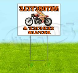 MOTORCYCLE SERVICE AND REPAIR 18x24 Yard Sign WITH STAKE Cor