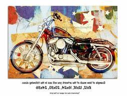 Motorcycle Wall Art, Garage Decor, Man Cave Art, Biker Theme