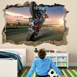 Motorcycle Wheelie 3D Wall Art Sticker Mural Decal For Kids