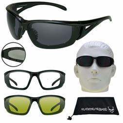 Motorcycle Wind Resistant Sunglasses Biker Foam Padded Day N