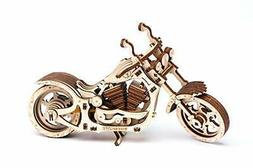 Motorcycle Wooden solid puzzle moving with rubber power 3D W