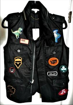 new black military vest motorcycle patches jacket