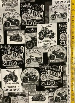 Packed Motorcycle Signs Grey Timeless Treasures Fabric Fun-C