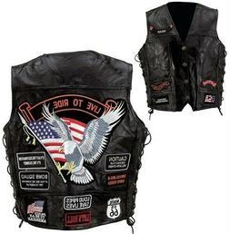 Diamond Plate Rock Design Genuine Buffalo Leather Vest