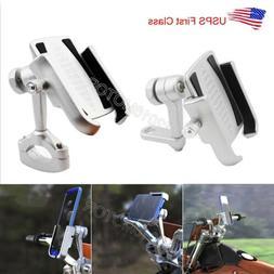 Silver Motorcycle Aluminum Cell Phone Holder Handlebar Mirro
