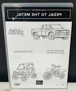 Stampin Up PEDAL TO THE METAL Boy Motorcycle Truck Guy Rubbe