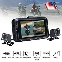 "USA 3"" Motorcycle DVR Dash Cam 1080P HD Dual Lens  Camera Dr"