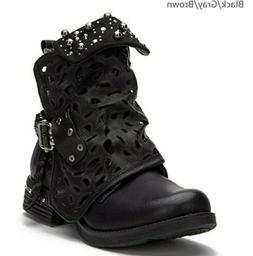 LALA IKAI Women Motorcycle Boots Combat Ankle Combat Boots N