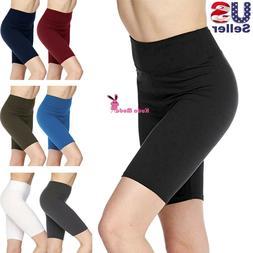 Women's 3 inch Wide Waistband Biker Leggings Bike Shorts Yog