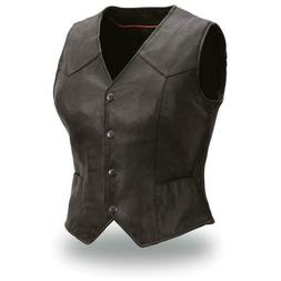 WOMEN'S MOTORCYCLE RIDING LEATHER VEST SIDE STRETCH