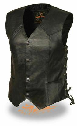 Womens Biker Classic Genuine Cowhide Leather Motorcycle Vest
