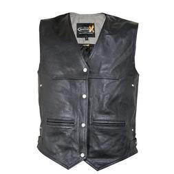 Xelement XS1927 Men's Premium Leather 4 Snap Motorcycle Vest